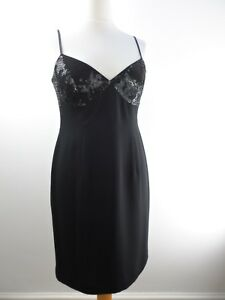 Little Black Dress UK 14 Sequin Evening Party Fitted Spaghetti Straps Planet