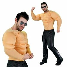 Mens Padded Chest Arms Costume Suit Meathead Adults Bodybuilder Muscle Top Shirt