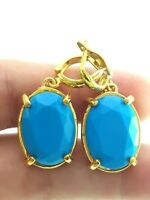 TRUST TURKISH 14K GOLD PLT 925 STERLING SILVER HANDMADE SKY QUARTZ EARRINGS