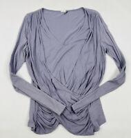 Akemi + Kin Women's Medium Purple Faux Wrap Long Sleeve Top Blouse Anthropologie