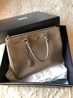 Prada Saffiano Lux Double Zip Tote Bag Granito Grey