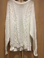 Rough Trade Mens Size 3 Ivory Cream Knitted Jumper Sweater Original Styling