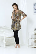 Damen Chiffon Tunika Minikleid mit Gürtel in Braun/Weiß Gr.XL Kariert