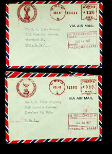 NORWAY 1947 POST WWII METER FRANKED 2 AIRMAIL COVERS TO USA W/ CACHET