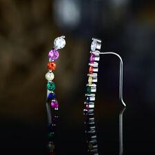 Sevil 18K White Gold Plated Multi-Color Created Gemstone Ear Crawler Earrings