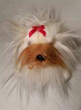 Aurora Plush White and Tan Shih Tzu Dog with Red Bow