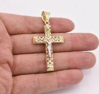 "2.5"" Filigree Jesus Christ Crucifix Cross Pendant Real 10K Yellow White Gold"