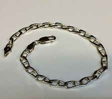 "10k Solid WHITE Gold Fashion Anchor Mariner Chain/Bracelet 4 MM 10 Grams 8.5"""