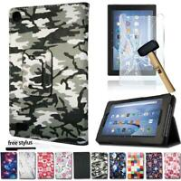 For Amazon Fire HD 8 PU Leather Stand Cover Case+Tempered Glass Screen Protector