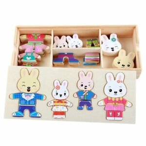 Wooden Toy 72pcs Rabbit Bear Dress Changing Jigsaw Puzzle Educational Clothes