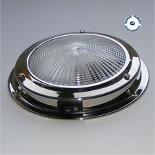 AAA STAINLESS STEEL DOME LIGHT WITH SWITCH 12V INTERIOR - BOAT, YACHT, CARAVAN