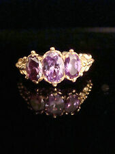 EDWARDIAN STYLE 9CT GOLD ON SILVER CZ ALEXANDERITE 3 STONE RING