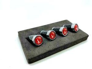 Carbon Fiber Tire Valve Stem Caps Honda Red
