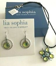 "Lia Sophia ""Bloommates"" Mother of Pearl, Resin, Silver Earrings & Necklace Set"