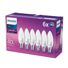 6 PZ PHILIPS LED Bianco Caldo e14 satinata a vite Edison 40w LAMPADINA CANDELA 470lm