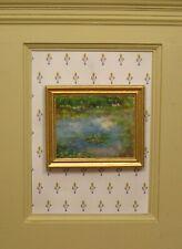 Josephine Meyer Framed Art à la Monet Water Lilies - Artisan Dollhouse Miniature