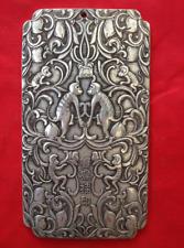 "Old Chinese""Double monkey Guayin"" tibet Silver Bullion thanka amulet 135g"