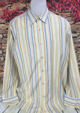 Tommy Bahama Mens 100% Silk Long Sleeve Striped Dress Shirt Large