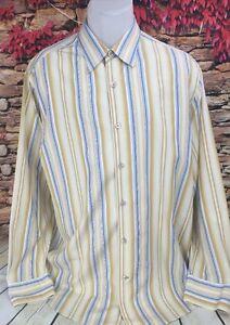Tommy Bahama Mens 100% Silk Long Sleeve Striped Dress Shirt Large