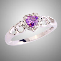Heart Cut Amethyst & White Topaz Gemstone Fashion Women Engagement Silver Ring