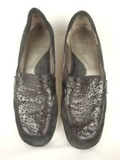 Sesto Meucci Fasion Driving Loafer Cut Out Sz 8 W Suede Patent Leather Italy