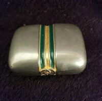 Ancienne Boîte À Pilule GUCCI Italy année 80 rare métal argenté laiton
