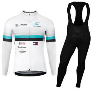 mens UBS team  Cycling Jersey Cycling Long Sleeve Jersey and Bib Pants set
