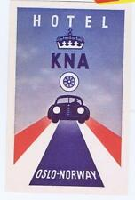 Hotel KNA Oslo Norway auto  Baggage luggage label decal