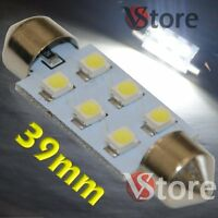 2 LED Siluro 39mm 6 SMD BIANCO Lampade Luci Xenon Lampadine Interno/Targa