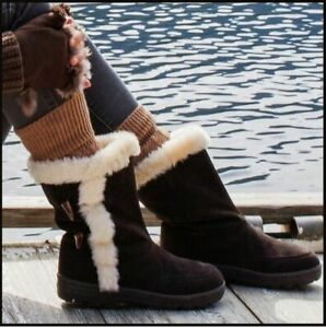 White Mountain OLIVIA (10)  Brown Suede Leather Women's Booties Boots Fur Lining