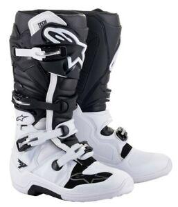 NEW ALPINESTARS 2021 TECH 7 MOTOCROSS BOOTS WHITE BLACK MX OFF ROAD ADULTS CHEAP