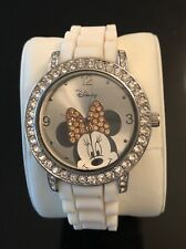 Disney MINNIE MOUSE Women's Watch Rhinestone Accent White Rubber Band  MN1188