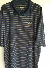 MLB Milwaukee Brewers Polo Shirt  Golf Shirt XXL Pin Stripe