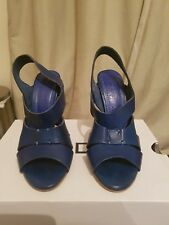 Zara Trafaluc leather, midnight blue, open toe, high heel sandals - UK size 3/36