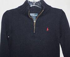Polo Ralph Lauren Sweater Boys Navy Blue 5 Cotton Zip Collar Red Pony Logo