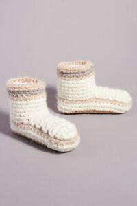 NWT Anthropologie Striped Knit Slipper Boots Sz S/M Cream Pink Cozy Valentine