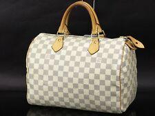 Auth LOUIS VUITTON Damier Azur Speedy 30 Hand Bag Purse White N41533 18553706