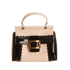 RRP€2290 ROGER VIVIER Leather Satchel Bag Partly Patent Top Handle Made in Italy