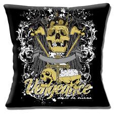 Vengeance Sera Mine Coussin Housse 40.6cm 40cm Skulls Tattoo Style Noir