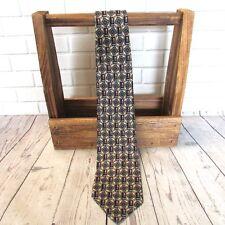 Liberty of London Men's Necktie Geometric 100% Italian Silk Beige Blue Burgundy