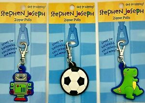 Stephen Joseph Boys Zipper Pull For Bag, Jacket, Pencil Case. Choose Character.