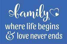 Joanie Farmhouse Stencil Family Life Begin Love Never Ends Heart DIY Craft Signs