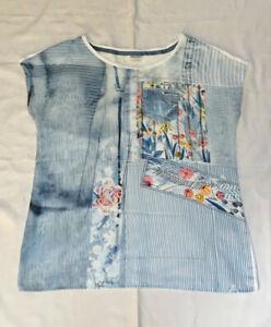 T-Shirt, Taifun, mehrfarbig, überschnittene Schulter, Größe 38