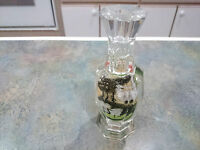 Reverse Painted Crystal Bud Vase - Japanese Crane Design
