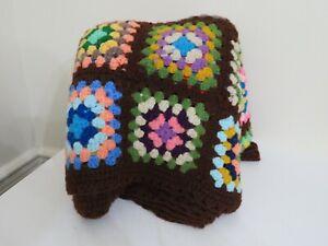 Vintage Handmade Crochet Afghan Blanket Raised BROWN USED 56 X 82