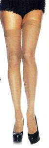 Fishnet Thigh High Stockings Seamless ElasticTops Reg Beige or Red Leg Ave 9011