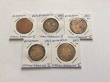 5 pièces Italie 10 centesimi Vittorio Emanuele II - 1863/66M/66OM/67H/67OM