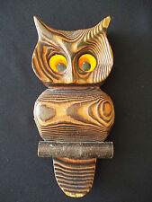 "Vintage 60's OWL 8"" Wall Art HAND CARVED CRYPTOMERIA WOOD Big Eyes"