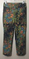 Soft Surroundings Size S In Bloom Pants Black Floral Ankle Leg Pull On Stretch