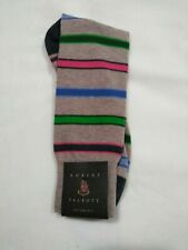 Robert Talbott Dress Socks, taupe with red green blue stripes, new, size 10-13
